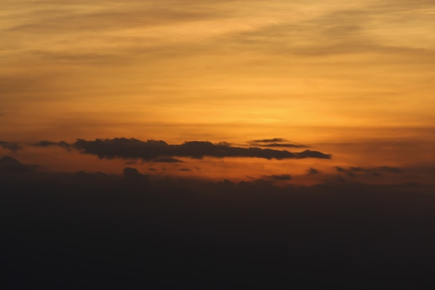 Light sunset on cloudy in national park at thailand