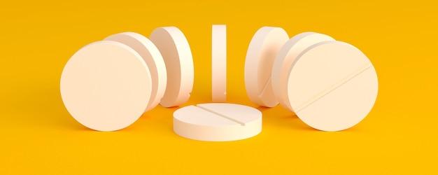 Легкие таблетки, расположенные полукругом вокруг одной на желтом фоне, 3d иллюстрация