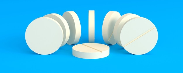 Light tablets laid out in a semicircle around one on a blue background, 3d illustration