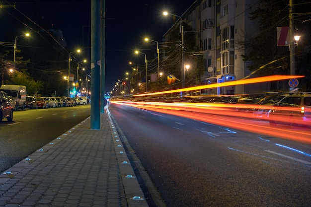 Light trails in the city at night. long exposure.