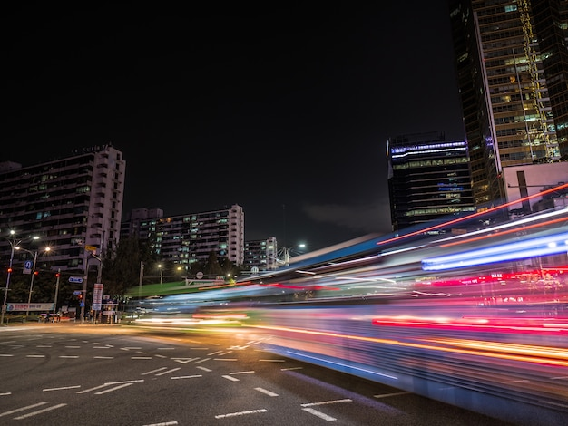 Light trails in seoul. long exposure on crossroad