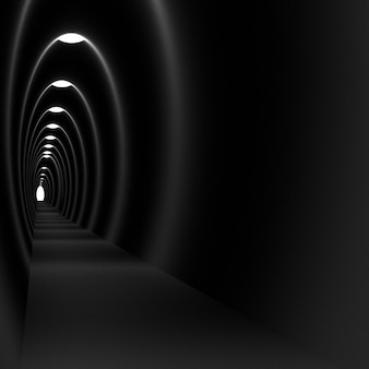 Light in the tunnel, 3d rendering