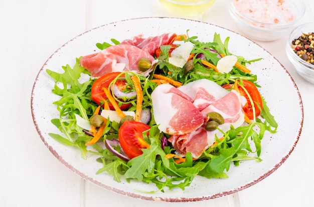 Light vegetable salad. concept of weight loss