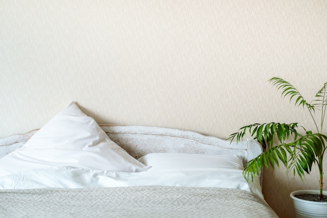 Light warm cozy comfortable home.slow living, modern romantic scandi boho style bedroom interior with green plant and empty wall for poster mockup.