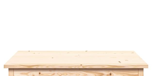白い背景で隔離の明るい色の木製テーブル、空の木製テーブルトップ