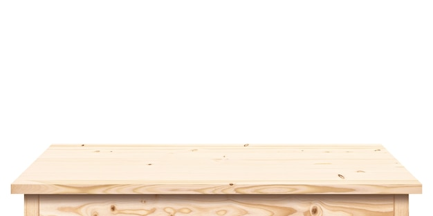 Light wood table isolated on white background, empty wooden tabletop