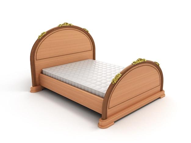 Легкая деревянная кровать с матрасом на белом фоне