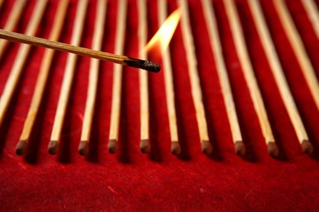 Light wooden matches arrangement