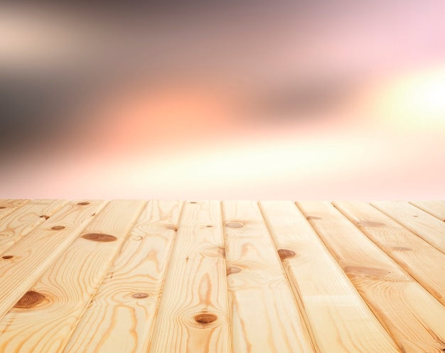 Light wooden table background for the product