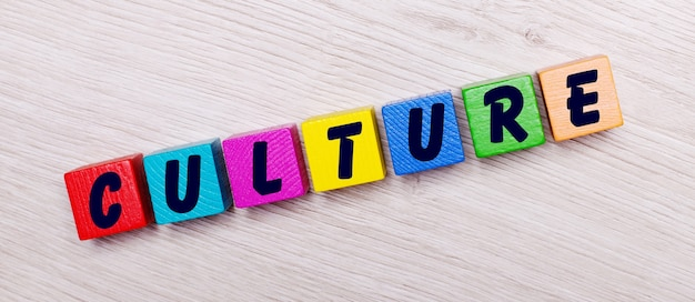 On a light wooden wall on multi-colored bright wooden cubes the word culture