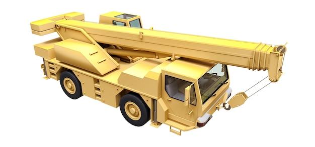 Светло-желтый автокран. трехмерная иллюстрация. 3d рендеринг.