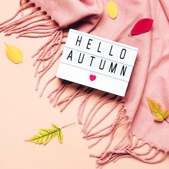 Hello autumnテキスト付きのライトボックス