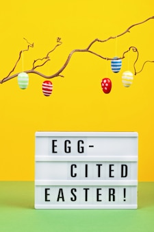 Lightbox with the text for easter celebration