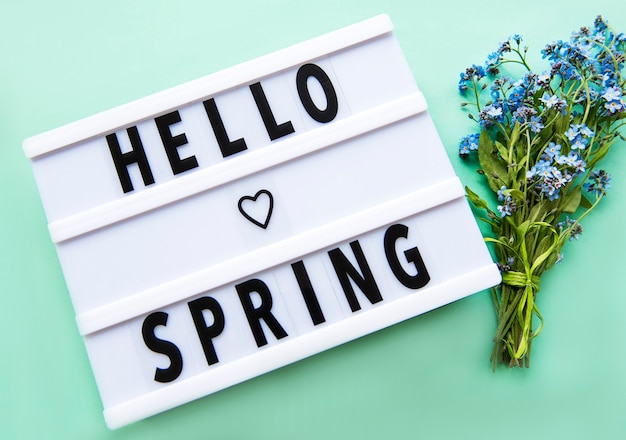 Lightbox with text hello spring and bouquet of forget me not flowers on green, top view