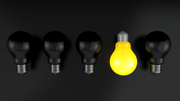 Lightbulb black background.