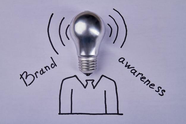 Lightbulb and brand awareness concept