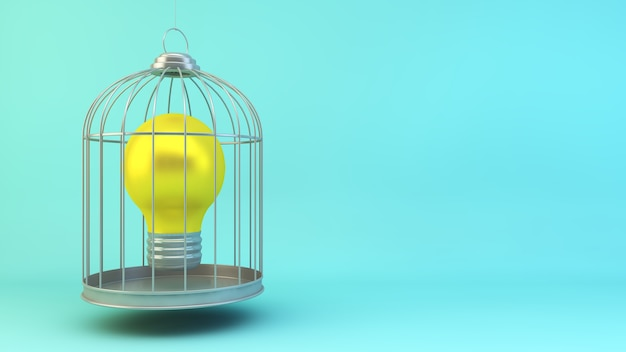 Lightbulb on a cage concept 3d rendering