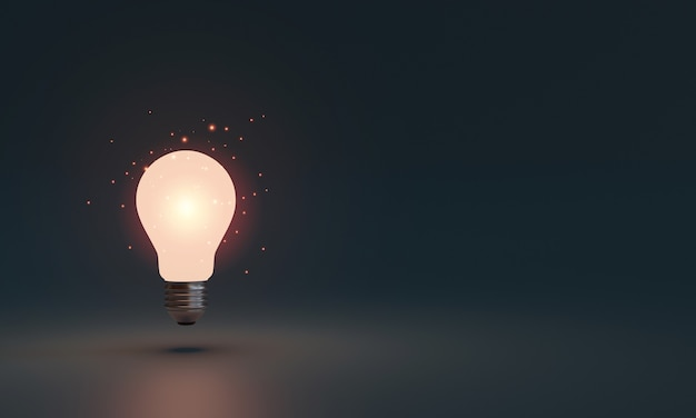 Lightbulb glowing in dark area with copy space for creative thinking and solving solution concept by 3d rendering technique.