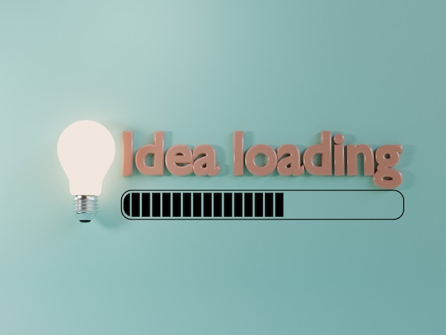 Lightbulb glowing with loading on blue background for creative thinking and problem solving solution concept by 3d render.