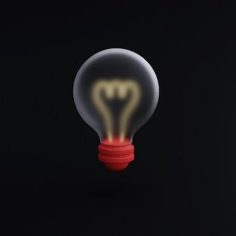 黒の背景の電球アイコン