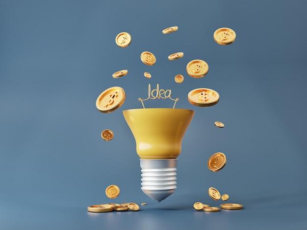 電球のアイデアとコインは富と金儲けの概念のためにお金を稼ぎます。