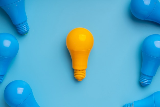 Lightbulb and lamp for creative & leadership business concept