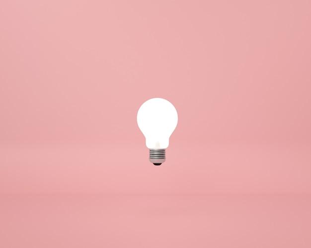 Lightbulb on pink . minimal creative idea concept.