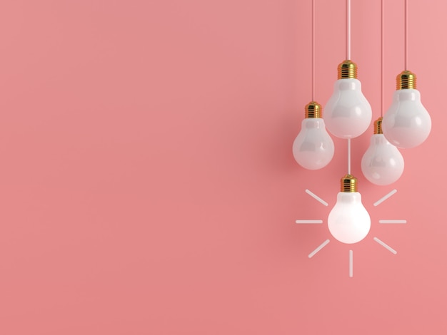 Lightbulb on pink pastel background