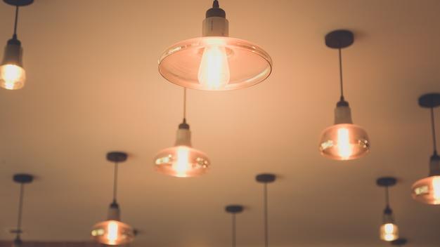Lightbulbs on ceiling