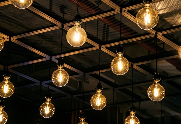 Lightbulbs hanging on the ceiling