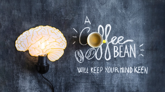 Lighted brain light bulb with text on chalkboard