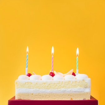 Lighted candles on sweet cake against yellow background