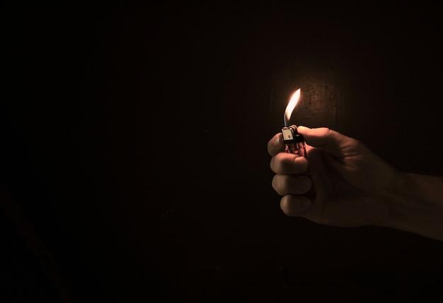 A lighter in darkness