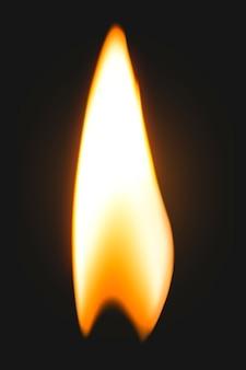 Элемент пламени зажигалки, реалистичное изображение горящего огня