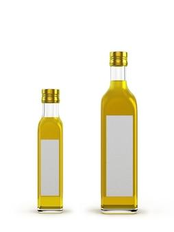 白で隔離されるさまざまなサイズのオリーブオイル用の軽いガラス瓶