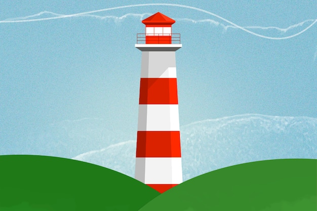 Lighthouse background in red and white color mixed media