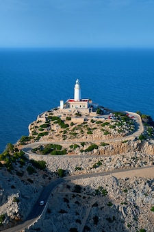 Lighthouse at cap de formentor on majorca while sunset