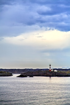 The lighthouse on coast of the north sea, norway