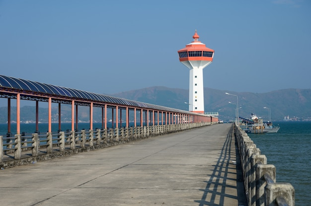 Lighthouse custom and immigration office at border to myanmar, ranong, thailand.