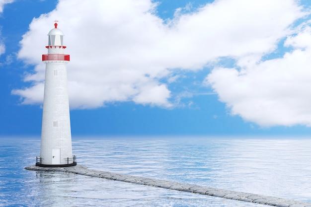 Маяк в океане или море на фоне голубого неба. 3d рендеринг