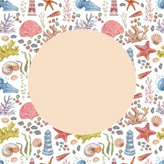 등대 해파리 불가사리 산호 조개 원활한 패턴 해변 수채화 일러스트 손 dra