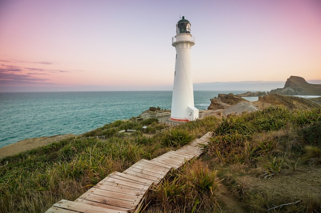 Lighthouse in pacific coast, new zealand
