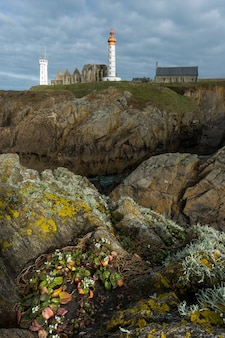 Lighthouse of pointe saint mathieu in plougonvelin, brittany, france
