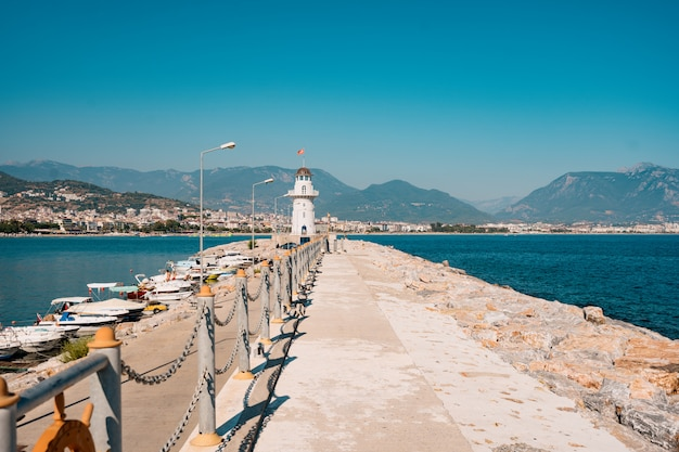Lighthouse in port. turkey, alanya.