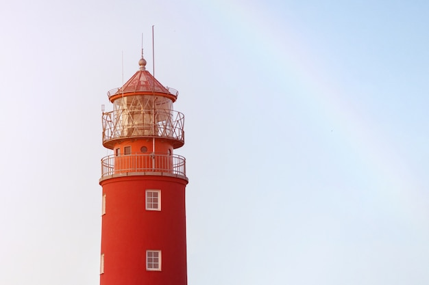Lighthouse in seaport. beautiful russian baltiysk beacon