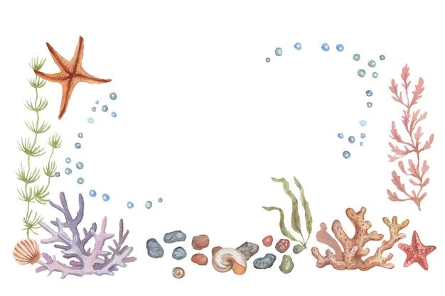 Маяк ракушки кораллы морские звезды акварельные иллюстрации рисованной ткани печати. урожай ретро реалистичная мультяшная картина море океан летний пляж патерн бесшовные набор композиции