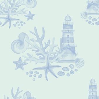 등대 조개 산호 불가사리 수채화 삽화 손으로 그린 인쇄 직물