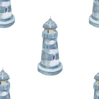 등대 조개 바다 원활한 패턴 여행 해변 수채화 그림 손으로 그린