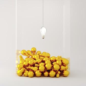Лампа освещения плавающая на золотой лампочке перекрытие в стеклянной коробке на белом фоне. концепция минимальной идеи. 3d визуализация.