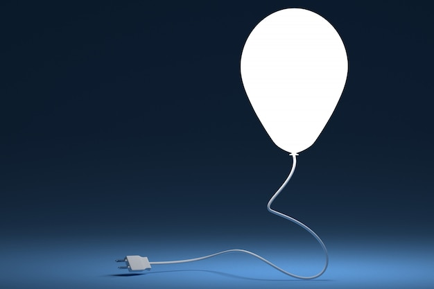 Lighting from a bulb and shape of a balloon. the concept of electric power.